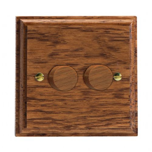 Varilight HK4MO Kilnwood Medium Oak 2 Gang 2-Way Push-On/Off Dimmer 40-250W V-Dim